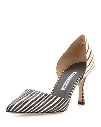 Manolo Blahnik Ganici Striped Snakeskin D'orsay Pump Black White