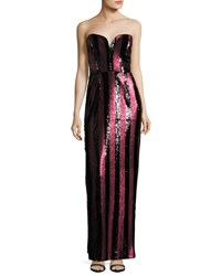 Milly Carly Strapless Striped Sequin Column Gown Red Black Red Pattern