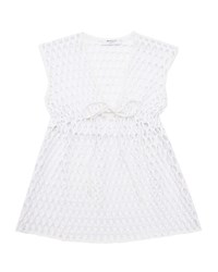 Milly Minis Sleeveless Mesh Drawstring Coverup White