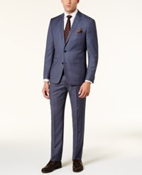 Vince Camuto Men's Slim Fit Dusty Blue Birdseye Suit