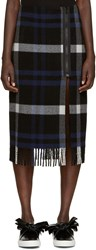 Cedric Charlier Blue Plaid Fleece Skirt
