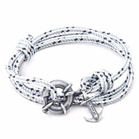 Anchor And Crew Grey Dash Clyde Rope Silver Bracelet