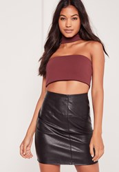 Missguided Crepe Choker Neck Crop Top Burgundy