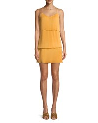 Saylor Sleeveless Pleating Mini Dress Mustard