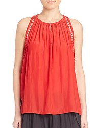 Ramy Brook Sara Crochet Camisole Top Ribbon Red