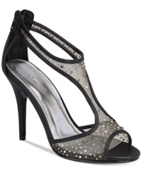 Caparros Hope Mesh Peep Toe Evening Sandals Women's Shoes Black