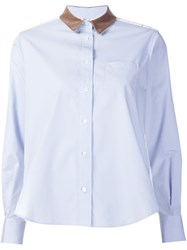 Sacai Lace Insert Shirt Blue