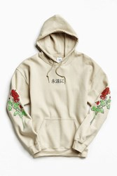 Urban Outfitters Floral Days Hoodie Sweatshirt Taupe