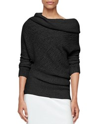 Calvin Klein Draped Off Shoulder Sweater Black