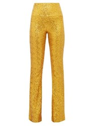 Norma Kamali High Rise Sequinned Kick Flare Trousers Gold