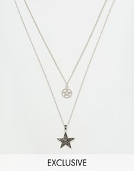 Reclaimed Vintage Star Necklaces In 2 Pack Gift Box Silver