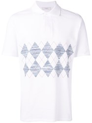 Pringle Of Scotland Argyle Strip Polo Shirt White
