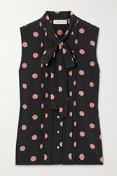 Tory Burch Crystal Embellished Polka Dot Silk Crepe Top Black