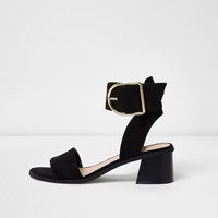 River Island Womens Black Oversized Buckle Leather Sandals
