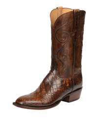Lucchese Colton Gator Leather Cowboy Boots Chocolate