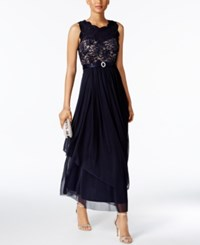 R And M Richards Petite Sequined Lace Chiffon Gown Navy Taupe