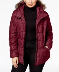 Columbia Plus Size Sparks Lake Faux Fur Trim Puffer Jacket Chianti