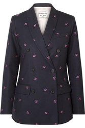 Paul And Joe Constantin Embroidered Checked Wool Blend Blazer Navy