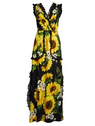 Dolce And Gabbana Sunflower Print Cady Gown Black Multi