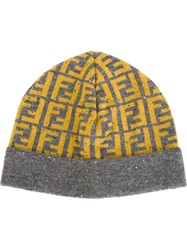 Fendi Monogram Knit Beanie Grey
