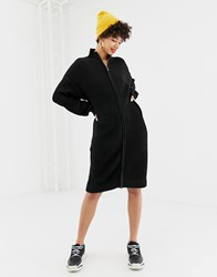 Na Kd Zip Front Knitted Dress In Black
