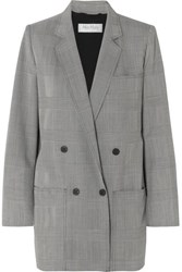 Max Mara Oxford Oversized Double Breasted Prince Of Wales Checked Wool Blazer Gray