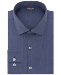 Kenneth Cole Reaction Men's Big And Tall Slim Fit Techni Stretch Performance Solid Dress Shirt Indigo