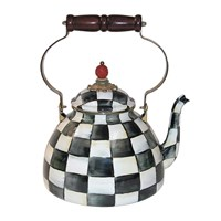 Mackenzie Childs Courtly Check Enamel Tea Kettle Large