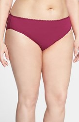 Plus Size Women's Nordstrom High Cut Cotton Blend Briefs Burgundy Plum