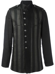 Ann Demeulemeester Striped Shirt Jacket Black