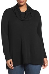 Sejour Wool And Cashmere Cowl Neck Sweater Plus Size Black
