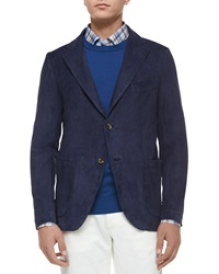 Isaia Two Button Suede Blazer Navy Blue