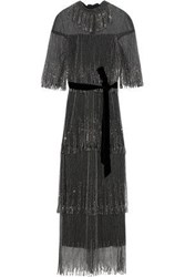 Monique Lhuillier Woman Embellished Tiered Tulle Gown Black