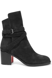 Christian Louboutin Karistrap 70 Suede Ankle Boots Black