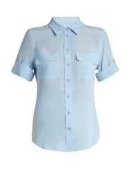 Equipment Signature Short Sleeved Silk Shirt Light Blue