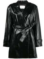 Olivier Theyskens Double Breasted Trench Coat Silk Lamb Skin Spandex Elastane Black