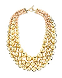 Pearly And Metal Bead Multi Strand Necklace St. John Collection