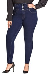 City Chic Plus Size Harley Corset Waist Stretch Skinny Jeans Dark Denim