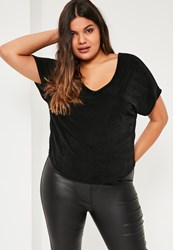 Missguided Plus Size Black Slinky V Neck Top