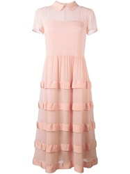 Red Valentino Semi Sheer Layered Dress Nude Neutrals