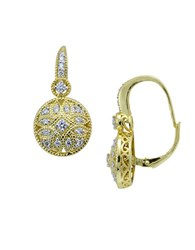 Lord And Taylor Sterling Silver Cubic Zirconia Filigree Earrings Gold