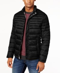 Kenneth Cole Quilted Packable Puffer Coat Black Peanut