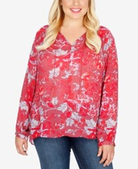 Lucky Brand Trendy Plus Size Floral Print Sheer Peasant Top Red Multi