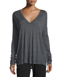 Vince Long Sleeve Wide V Neck T Shirt Heather Charcoal