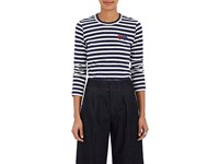 Comme Des Garcons Play Women's Striped Cotton Long Sleeve T Shirt Navy