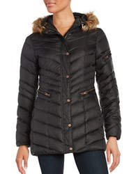 Andrew Marc New York Plus Renee Faux Fur Trimmed Hooded Puffer Coat Black