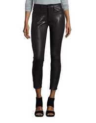7 For All Mankind Snake Embossed Skinny Pants Black