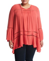 Cirana Plus Bell Sleeve Lace Inset Top Coral