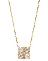 John Hardy 18K Yellow Gold Modern Chain Diamond Square Pendant Necklace 16 White Gold
