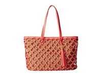 Rafe New York Sam Straw Tote Coral Reef Tote Handbags Red